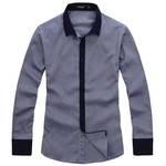 lesmart 新款衬衫 商务休闲条纹纯棉衬衣 男士长袖衬衫 SX13113