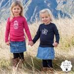 Three Bags Full 100%新西兰纯美利奴羊毛女童上装 2件组蝴蝶图案+俄罗斯娃娃图案