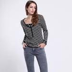 色度 正品专卖 女式色织细条半开襟T恤 4227041