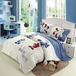 迪士尼Disney纯棉卡通男孩女孩床上用品斜纹印花三件套米奇米妮维尼多款