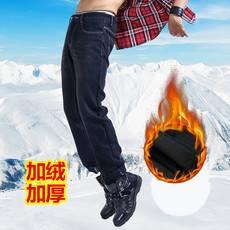 LESMART秋冬新品 保暖护膝男款时尚休闲加绒直筒牛仔长裤DX13180