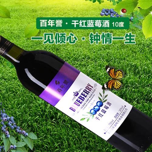 百年誉野生蓝莓果酒750ml干红葡萄酒国产红酒无糖diy10度自酿