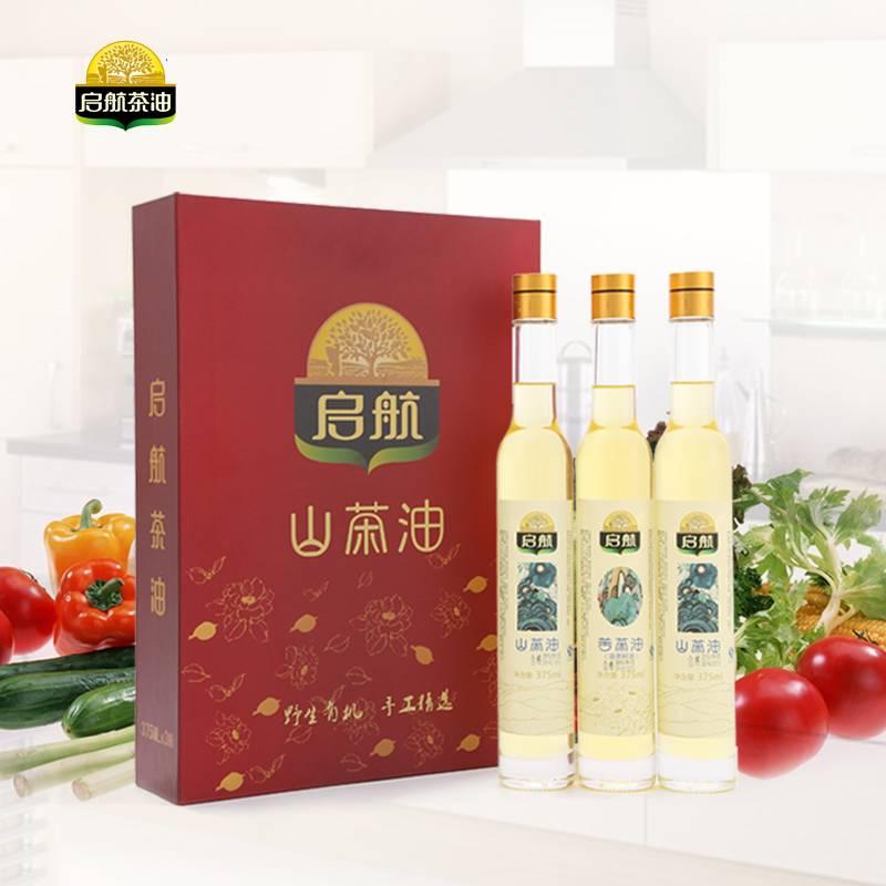启航 天然野生山茶油食用油375ml*3礼盒装 非转基因压榨