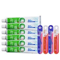 LG 竹盐清爽薄荷牙膏105gx6支装皓齿牙膏 送牙刷4支